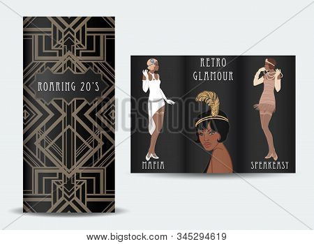 Retro Fashion. Glamour Girl Of Twenties. African American Woman. Vector Illustration. Flapper 20s St