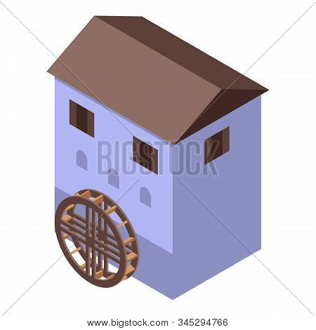 Netherland Water Mill Icon. Isometric Of Netherland Water Mill Vector Icon For Web Design Isolated O