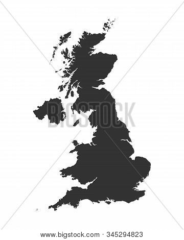 United Kingdom Blank Map Graphic Icon.  Uk Map Sign Isolated On White Background. High Detail. Vecto