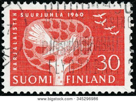 Vintage Stamp Printed In Finland 1960 Shows Festival Of The Karelians