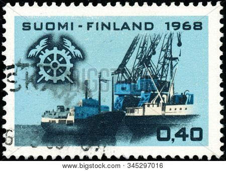 Vintage Stamp Printed In Finland 1968 Shows The Central Chamber Of Commerce