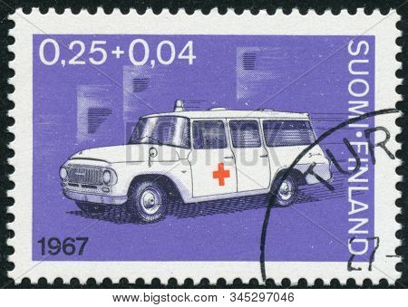 Vintage Stamp Printed In Finland 1967 Shows 90Th Anniversary Of Finnish Red Cross
