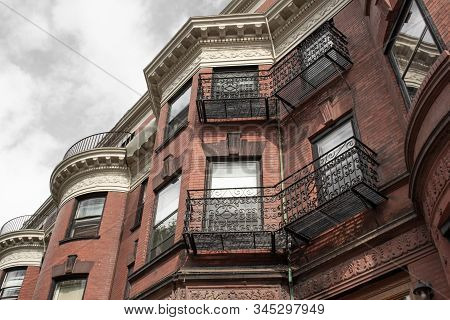Elaborate Wrought Iron Railings And Frieze Details On The Face Of Old Brownstones, Horizontal Aspect