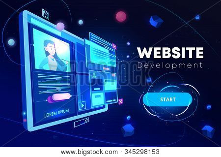 Website Development Banner, Computer Technology, Monitor With Open Browser Page And Woman Profile On