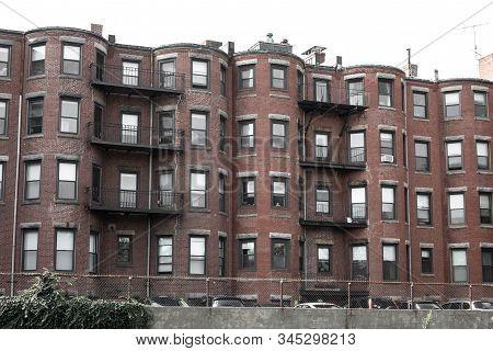 Run Down Old Brick Urban Housing Block, Brick Brownstone, Horizontal Aspect