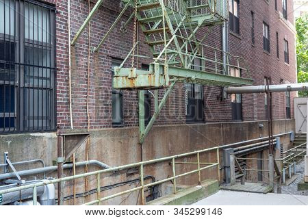 Cantilevered Bottom Section Of Urban Housing Fire Escape, Horizontal Aspect