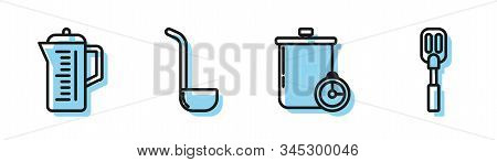 Set Line Cooking Pot And Kitchen Timer , Teapot , Kitchen Ladle And Spatula Icon. Vector