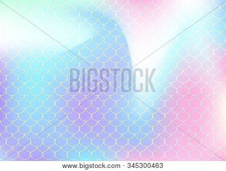 Holographic Mermaid Background With Gradient Scales. Bright Color Transitions. Fish Tail Banner And