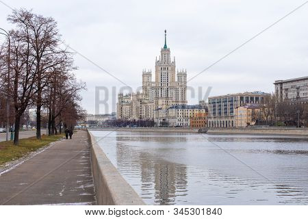 Moscow, Russia - January 7, 2020: Stalin Skyscraper On The Kotelnicheskaya Embankment Of The River.