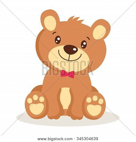 Toy For Girls. Cute Cartoon Teddy Bear Puppies Sitting Vector Illustration. Little Bear Character Is