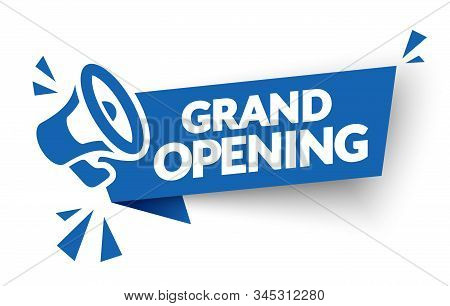 Vector Illustration Grand Opening Banner Template. Marketing Business Concept With Megaphone. Modern