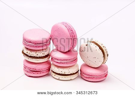 French Colorful Macarons Colorful Pastel Macarons On White Background White And Pink Macarons Horizo