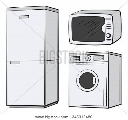 Group Of Technical Equipment Icons. Refrigerator, Washing Machine, Microwave. Isolated On White. Vec