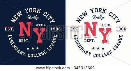 Ny College League Print For T-shirt Design. New York, Brooklyn Typography Graphics For College Appar