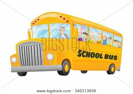 Classic American Old School Bus. Kids Riding On School Bus. Free Travel. Color Vector School Banner