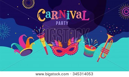 Carnival, Party, Rio Carnaval, Purim Background With Confetti, Music Instruments, Masks, Clown Hat A