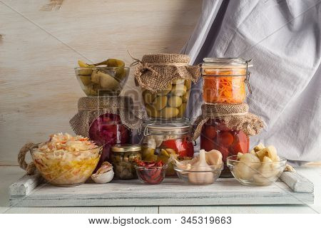 Homemade Canned Pickled And Fermented Vegetables For Long-term Storage. Preservation Of Seasonal Veg