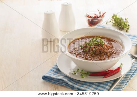 Hamburger Cauliflower Soup. Hot Minced Meat Soup With Cauliflower, Vegetables And Cheese. Thick Hot
