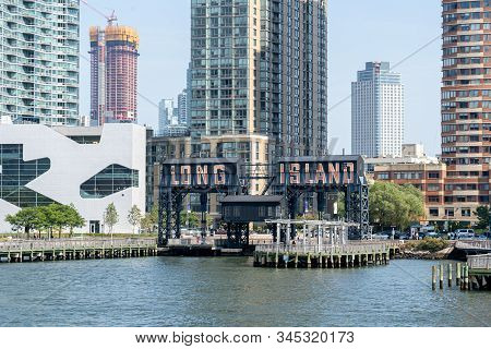 Long Island City, Usa - September 23, 2019: Piers And Building In Long Island City