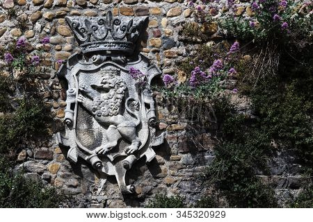 Coat Of Arms Of Leon, Spain, Made Of Stone O A Wall