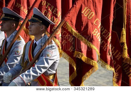 Moscow, Russia - May 7, 2019:flag Bearers Of The Moscow University Of The Ministry Of Internal Affai