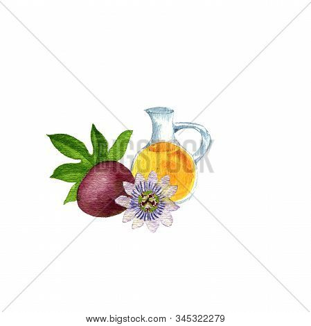 Watercolor Drawing Passion Fruit Oil, Bottle Of Vegetable Oil And Passiflora, Hand Drawn Illustratio