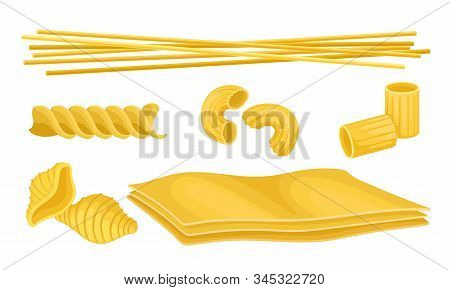 Shaped Pasta Vector Set. Uncooked Wheat Macaroni For Meal Preparation