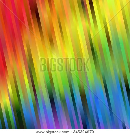 Rainbow Spectrum Background Of Blurred Slanting Stripes. Abstract Vector Backdrop