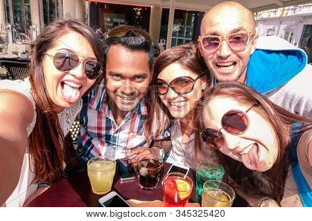 Multiracial Friends Taking Selfie At Cocktail Bar - Fun And Friendship Concept With Gen Z Student Sh