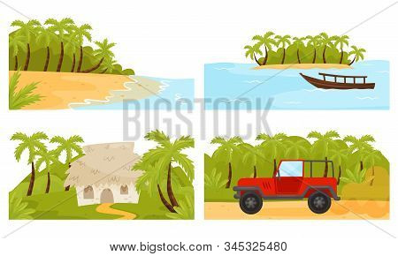 Tropical Island Scenic Illustrations With Palm Trees And Hut Vector Set