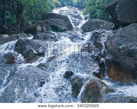 A Waterfall In Thailand. Natural,travel , Stone, Stream, Summer, Torrent