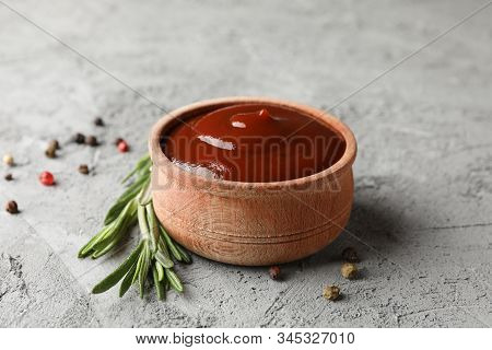 Tasty Barbecue Sauce, Ingredients On Grey Background, Space For Text. Closeup