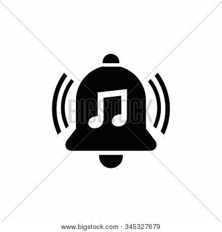 Music Notification Bell Icons Are Isolated Against A White Background. Notification Bell Icons In A