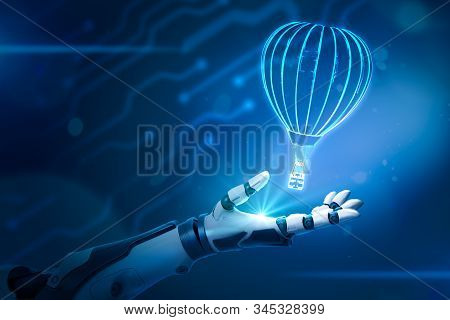 3d Rendering Of Black And White Android Hand Facing Up As If Levitating Luminous Hologram Of Hot Air