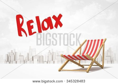 3d Rendering Of Red And White Striped Deck Chair And Title Relax Against Background Of Gray And Whit