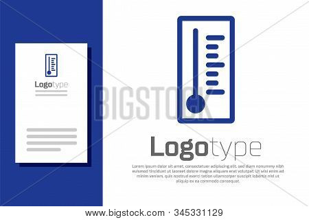 Blue Meteorology Thermometer Measuring Heat And Cold Icon Isolated On White Background. Thermometer
