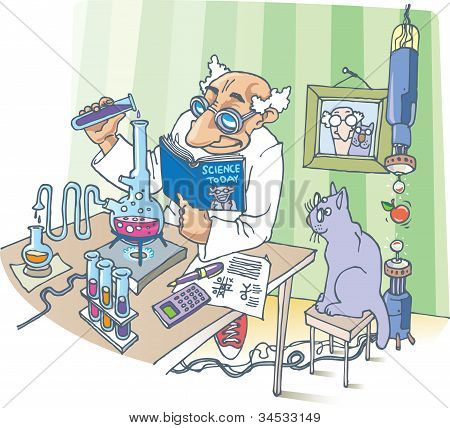 The Scientist and his Cat.