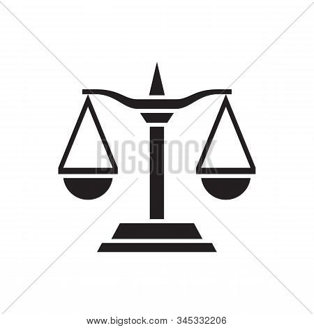 Libra Scale - Black Icon On White Background. Graphic Design Vector Illustration. Balance Scale Abst