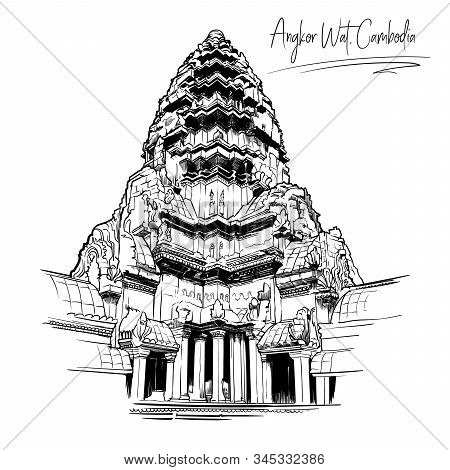 Centerpiece Of The Angkor Wat Temple Complex In Cambodia Representing The Sacred Mount Meru Of The H