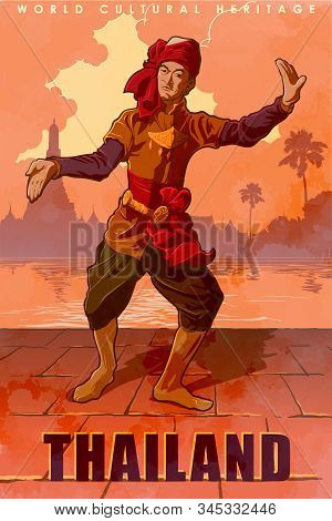 A Man In A Traditional Male Thai Costume Dancing Traditional Thai Dance. Sunset Sitiscape Panorama O