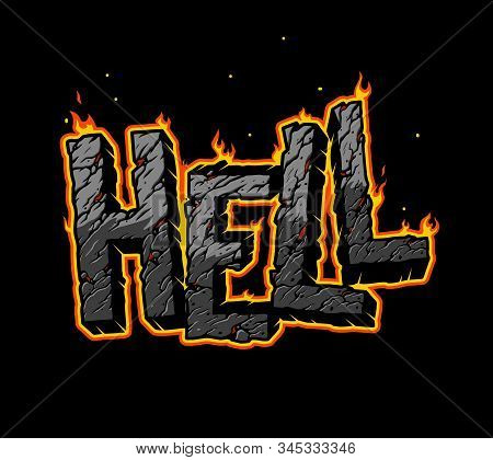 Vintage Fiery Hell Inscription Concept With Cracked Sand Texture Isolated Vector Illustration
