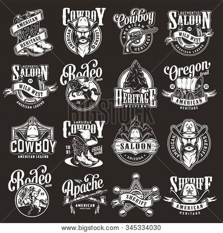 Vintage Wild West Labels Set With Cowboy Boots Hat Sheriff Badge Star Gun Horseshoe Flint Arrowhead