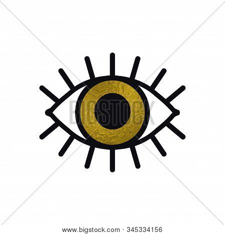 Open Gold Eye Line Icon On White Background. Look, See, Sight, View Sign And Symbol. Vector Linear G