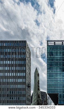 Glass Tower Buildings In The Financial Centre Of The  City Of Amsterdam