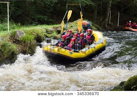 Frongoch, Wales, Uk - September 18 2016: Rafters Shooting The Rapids At The National White Water Cen