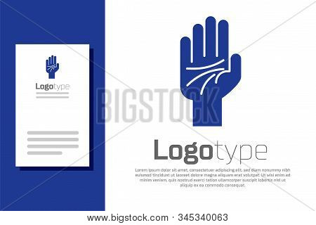 Blue Palmistry Of The Hand Icon Isolated On White Background. Logo Design Template Element. Vector I