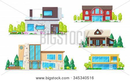Residential Houses, Cottage, Villas, Mansion Apartment And Bungalow. Vector Real Estate Building Ico