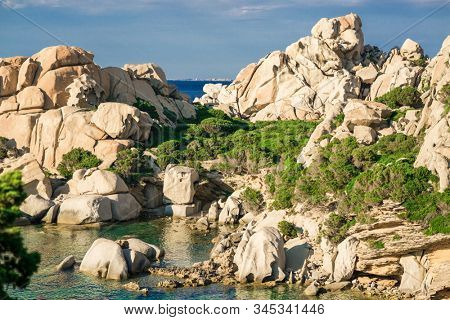 Cliffs on Cala Spinosa Beach. Sardinia. Italy. Mediterranean Sea.