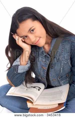 High school female student doing her homework poster