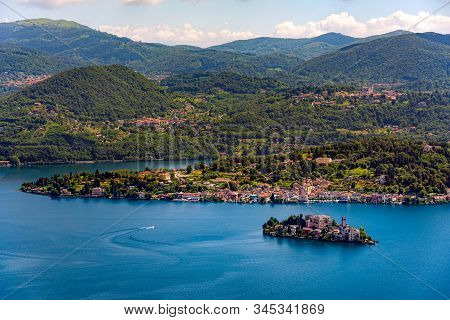 Isola San Giulio (st. Julius Island) In Front Of The Town Of Orta On The Orta Lake In The Italian Al
